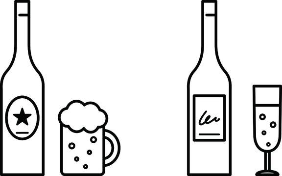 ビールとワインのイラスト/ビン/ボトル/イラスト