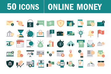 mobile banking, financial payment money bsuiness icons set flat style