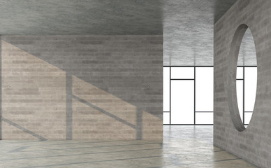 Wall Mural - Empty loft style concrete room with sunlight shininng in the room 3d render
