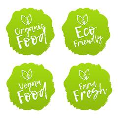 Wall Mural - Food badges. Vegan, organic, fresh and eco.