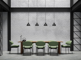 Wall Mural - Industrial loft style dining room 3d render.There are white brick wall,polished concrete floor and black steel structure.Furnished with green fabric chair and wooden table.