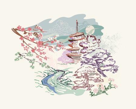 building landscape nature landscape view vector sketch illustration japanese chinese oriental line art ink card background
