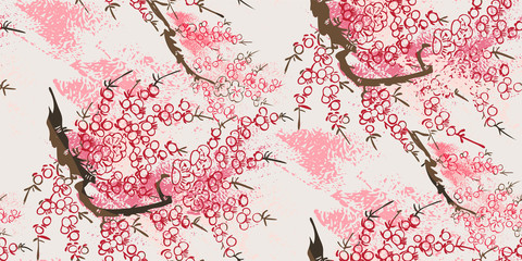 sakura nature landscape view vector sketch illustration japanese chinese oriental line art ink seamless pattern