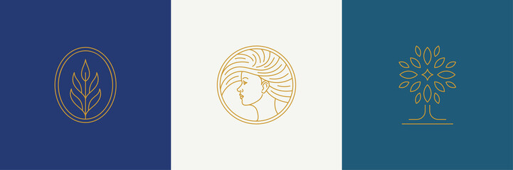 Vector line minimal decoration design elements set - female face and branch leaves illustrations simple linear style