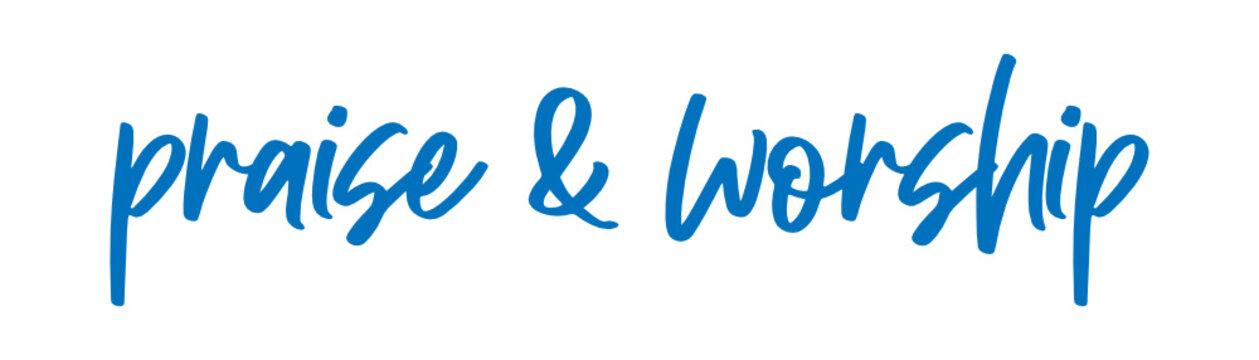 praise and worship Vector brush calligraphy banner, inspirational typography, Thin segment line font, minimalist type