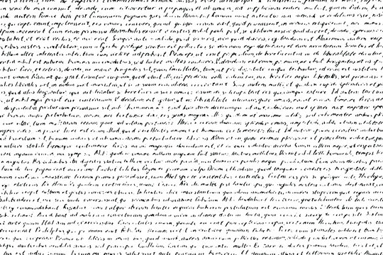 Grunge texture of an old illegible manuscript. Monochrome background of half-erased handwritten text. Overlay template. Vector illustration