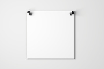 Blank white poster mock up pinned to a plain grey wall. 3D rendering