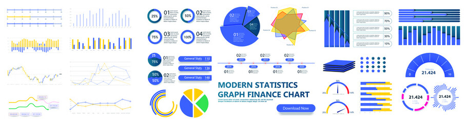 Modern infographic template with stock diagrams and statistics bars, line graphs and charts for finance report. Diagram template and chart graph, graphic information visualization. UI, UX, GUI. Vector