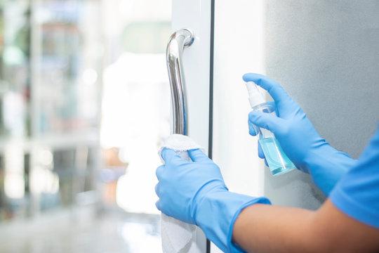 sanitizer spray clean handle door protect virus bacteria corona 2019