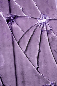 Close Up of Broken Smashed Glass for Abstract Background