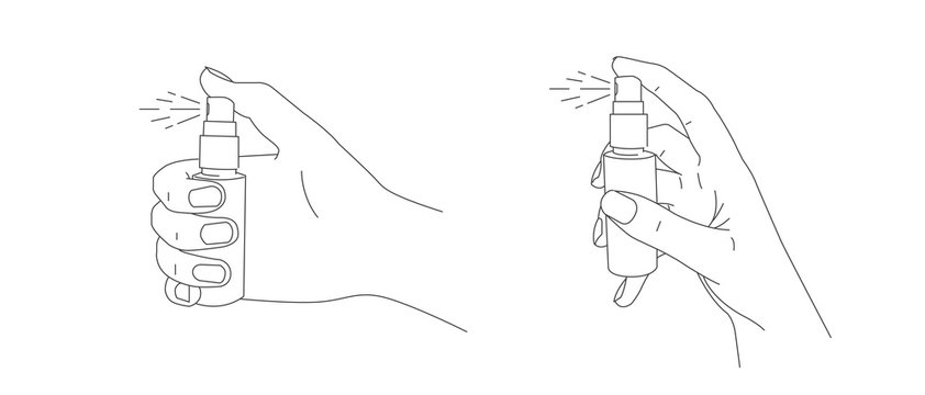 Line illustrations of hand holding a small spray bottle and push the dispenser in two gesture foreshortening, isolated