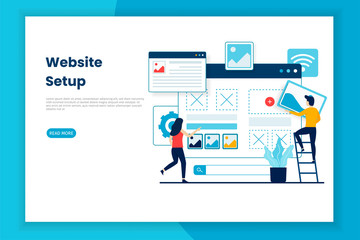 Fototapeta Flat design website setup illustration webpage.  This is great for websites, landing pages, mobile applications, posters, banners obraz