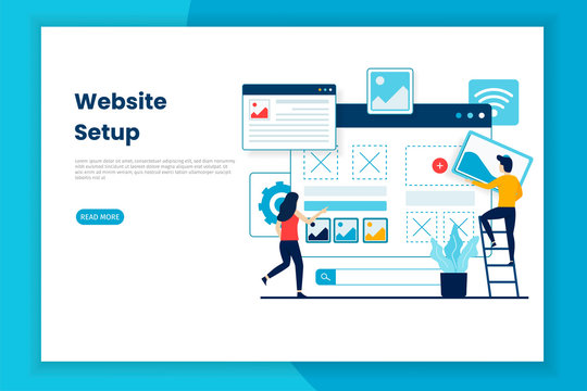 Flat design website setup illustration webpage.  This is great for websites, landing pages, mobile applications, posters, banners