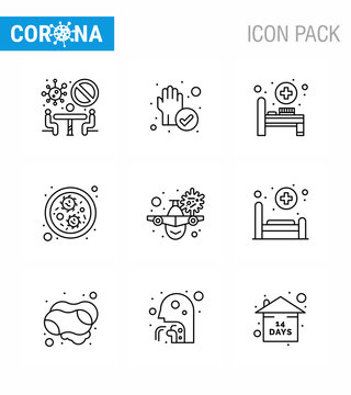 Covid-19 Protection CoronaVirus Pendamic 9 Line icon set such as  warning, travel, bed, airplane, germs