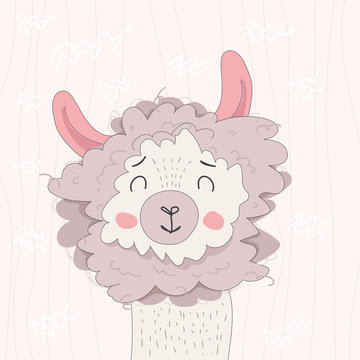 Vector color hand-drawn children`s illustration with a cute cheerful smiling llama in Scandinavian style isolated on light pink background. Cute baby animals. Alpaca for poster, print, postcard