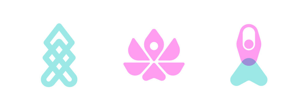 Vector logo templates set of stylized meditating human silhouettes and lotus flower. Abstract simple emblem for yoga, meditation, relaxation, inner concentration, self-knowledge or spiritual practice