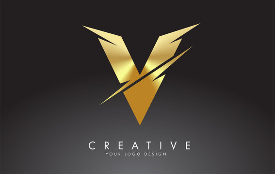 Golden V Letter Logo Design with Creative Cuts.