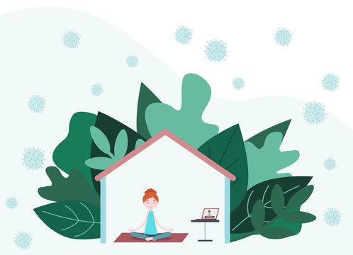 Woman doing yoga exercises at home on Quarantine. Coronavirus CoV and virus infection outdoor. Stay at home, Stop COVID-19, 2019-nCoV Novel Corona virus.
