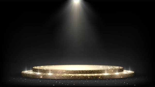 Round golden sparkling stage with steps and spotlights, luxurious pedestal