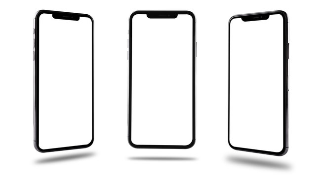 Smartphone mobile mockup blank screen three position front and side