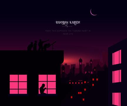 Ramadan Kareem night city with moon
