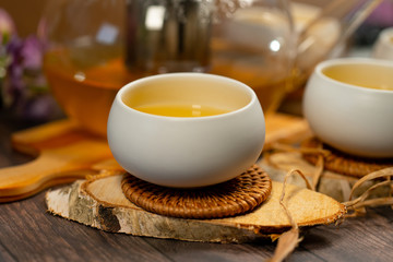 Fresh green tea in Japanese tea cups