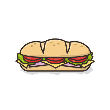 Hoagie or sub with tomato, lettuce, ham, cheese isolated vector illustration for Hoagie Day on May 5th