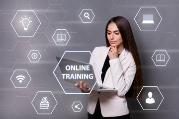 Online training. Young female teacher with laptop computer and e learning related icons on virtual screen, collage