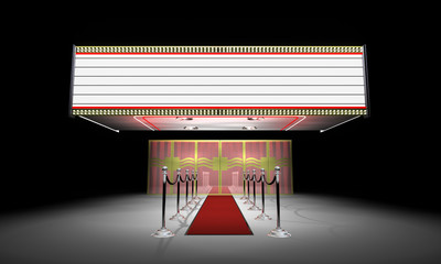 3d: Fancy Theater Entrance with Marquee