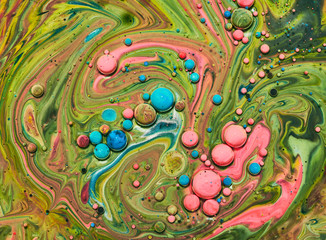 Fototapete - Colourful acrylic bubbles.Fluid art marble texture. Backdrop  abstract iridescent paint effect. Liquid acrylic artwork  flows and splashes. Mixed paints for interior poster.
