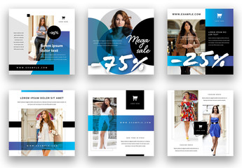 Fashion Sale Social Media Layout Set