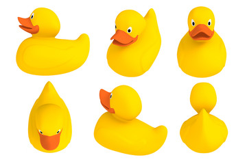 Yellow set rubber duck isolated. Bath toys on a white background. 3d rendering.