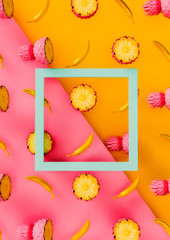 Vibrant Pink and Yellow 3d Poster with Summer Pattern – Stylized Pinapples, Bananas and Frame