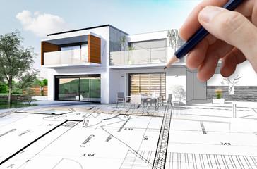 Esquisse 3D d'une maison moderne d'architecte avec plan de conception