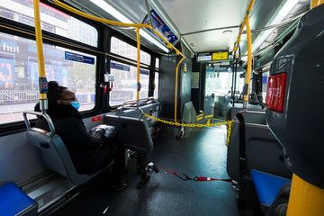 Chains to protect the bus driver are seen inside the New York City The Metropolitan Transportation Authority (MTA) bus system during the outbreak of the coronavirus disease (COVID-19) in New York City, New York