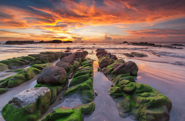Scenic View Of Sea Against Dramatic Sky During Sunset - fototapety na wymiar
