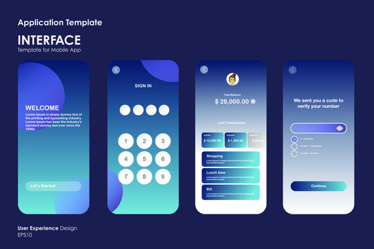 Blue Interface Different UX/UI Design template good to use for mobile application and web icon, responsive website including, Interface design EPS10 File format
