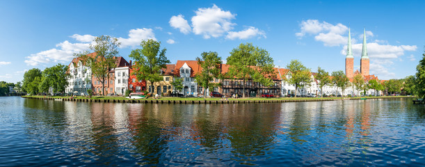 Panoramic view of the Hanseatic City of Lübeck,  Schleswig-Holstein, Germany Wall mural