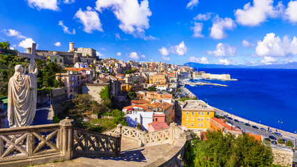 View of beautiful coastal town Gaeta. and Aragonese medieval castle. Landmarks of Italy, Lazio