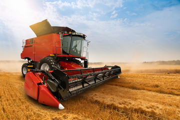 Wall Mural - Combine harvester on the wheat field