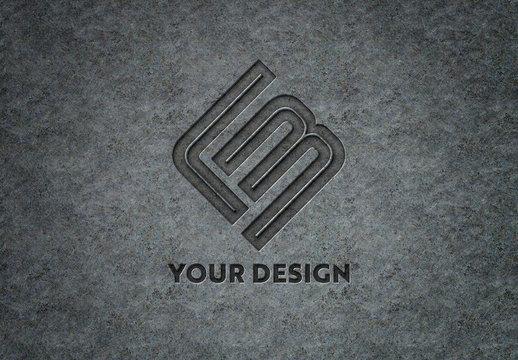 Engraved Logo on Metal Plate Mockup