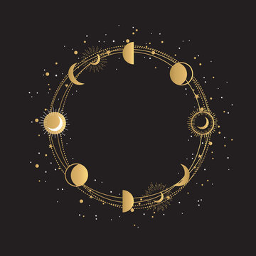 Hand Drawn Gold Logo Frame with golden moon phases and stars. Abstract Golden Round Frame on white background