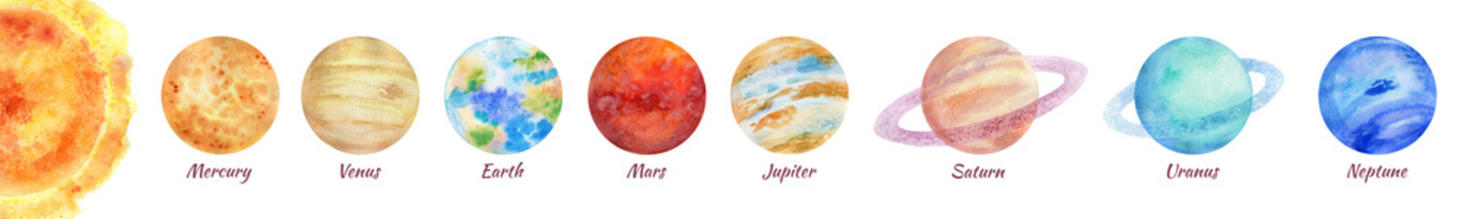 A bright colorful watercolor illustration of a solar system on a white background.  A set of 8 planets: Mercury, Venus, Earth, Mars, Jupiter, Saturn, Uranus, Neptune. Isolated space objects.
