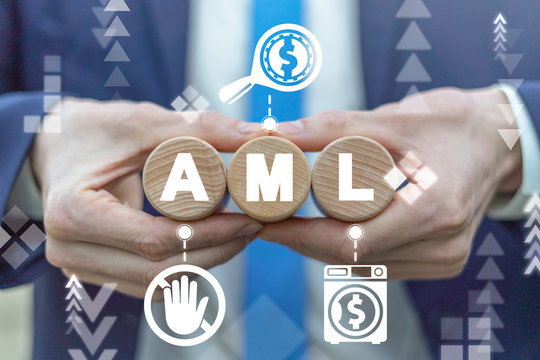 AML Anti Money Laundering Business Financial Crime Concept. Finance Launder Washing Illegal Violation.