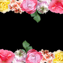 Wall Mural - Beautiful floral pattern of roses and pelargoniums. Isolated