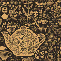 Vector seamless pattern on the theme of tea and tea shop with sketches. Old-fashioned decorative background with hand-drawn herbs. Suitable for Wallpaper, wrapping paper, fabric. Chinese character tea