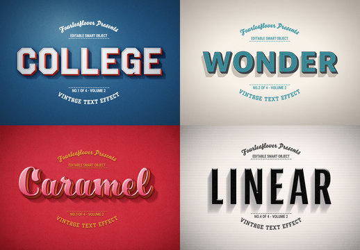 Retro Text Effect Mockup Bundle
