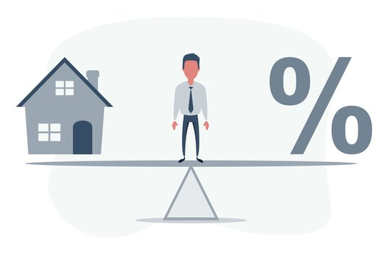 Balance Between Percentage And House Model On Seesaw. Vector flat design illustration.