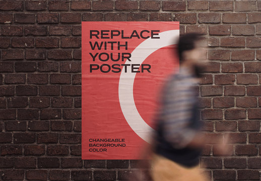 Glued Poster Mockup on Brick Wall with Man