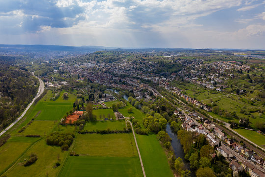Aerial view of the village Eutingen beside Pforzheim in Germany on an early spring morning.